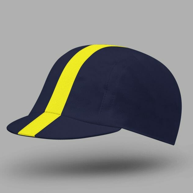 Classic Cycling Cap - Blue with Yellow Stripe