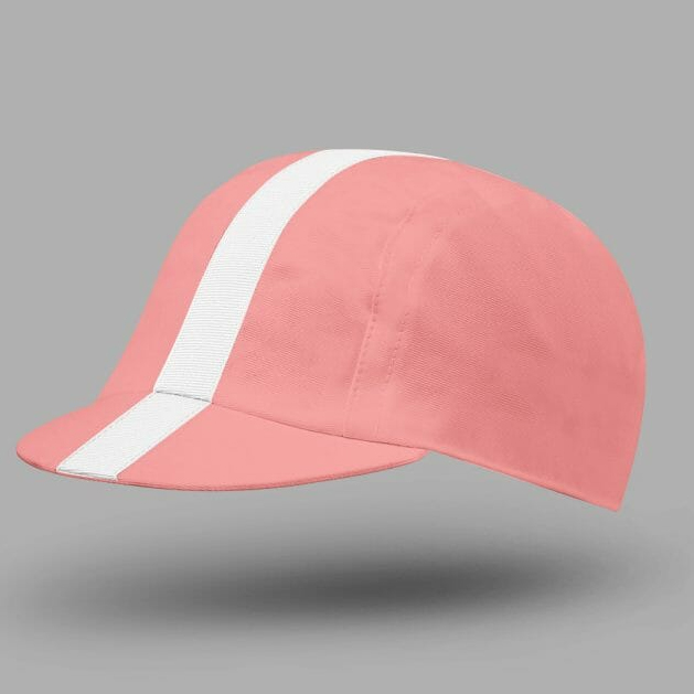 Classic Cycling Cap - Pink with White Stripe