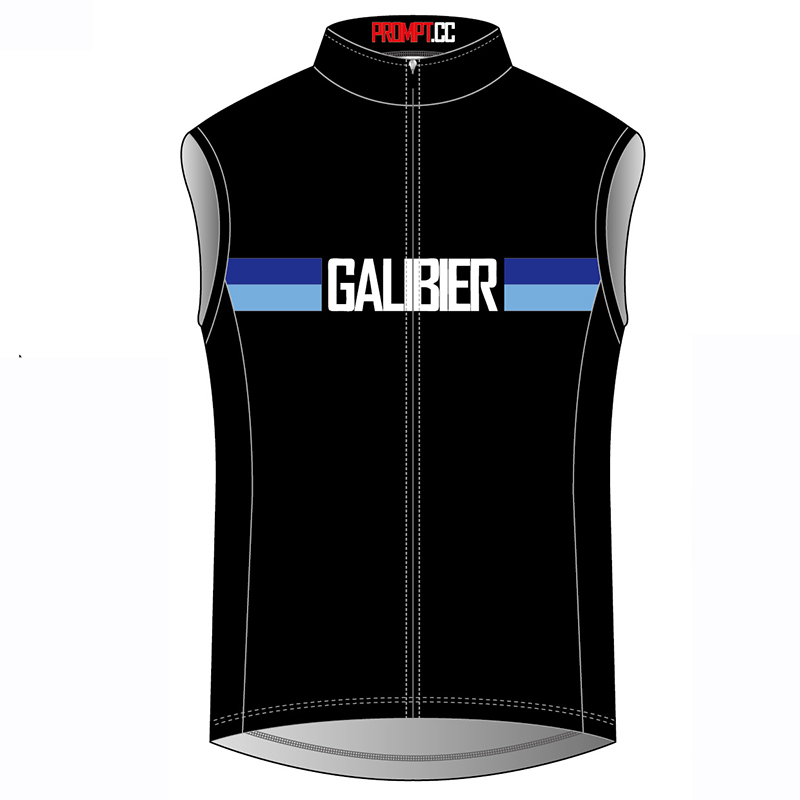 <p>Our classic Galibier jersey has now been made into a lightweight gilet or cycling vest. The sleeveless design is exactly the same as the Galibier jersey. </p><p>Designed to be worn on the long descents in the alpes or at home either in the spring or early autumn the gilet can be packed up small and put in a rear pocket.</p><p>The main body of the gilet are made from cool shell 80 GSM while the side panels are made from C24 square mesh 120 GSM</p><p>The More Than 21 Bends logo is placed on the rear of one of its three pockets.</p><p><strong>Approximate chest measurements (inches and cms)</strong></p><table style= 'width: 200px ' cellspacing= '1 '><tr><td>Size</td><td>Inches</td><td style='width: 66px'>CMs</td></tr><tr><td>Small</td><td>38</td><td style='width: 66px'>95</td></tr><tr><td>Medium</td><td>40</td><td style='width: 66px'>100</td></tr><tr><td>Large</td><td>42</td><td style= 'width: 66px '>105</td></tr><tr><td>X Large</td><td>44</td><td style= 'width: 66px '>110</td></tr></table>